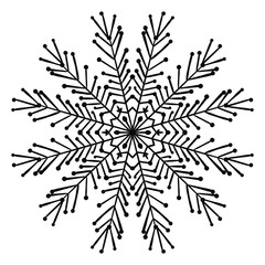 Ornamental round doodle flower isolated on white background. Black outline mandala. Geometric circle element. Vector illustration.