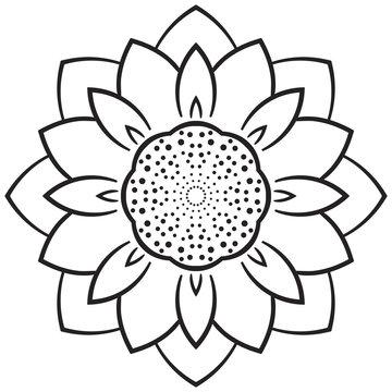 Abstract mandala flower isolated on white background. Vector illustration.