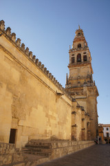 Tower and wall of the Mezquita - Cathedral in Cordoba, Spain