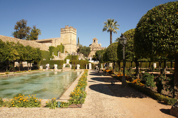 Panorama of Alcazar in Cordoba, Spain