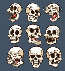 Cartoon skulls with different emotions. Vector clip art illustration with simple gradients. Each on a separate layer.