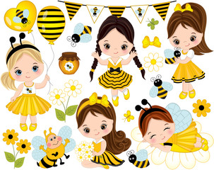 Vector Cute Little Girls, Bees, Honey, Balloons and Flowers