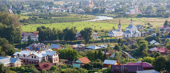 Beautiful cityscape. Aerial view of the old Russian town of Suzdal. Golden Ring, Vladimir region, Russia