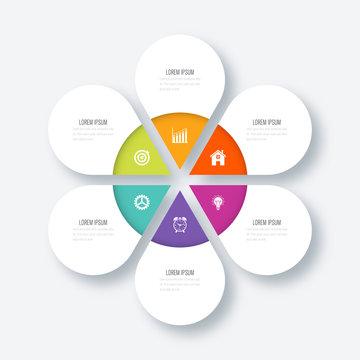 Modern infographics six circle process template