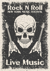 Vintage rock n roll poster. Skull and guitar typographic for print, t-shirt, tee design.