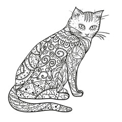 Cat. Design Zentangle. Hand drawn cat with abstract patterns on isolation background. Design for spiritual relaxation for adults.  Black and white illustration. Printing on t-shirts