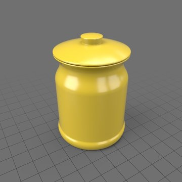Yellow kitchen jar with lid