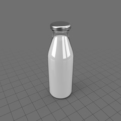Glass bottle filled with milk