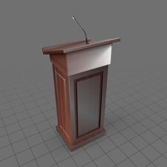 Wood podium with microphone