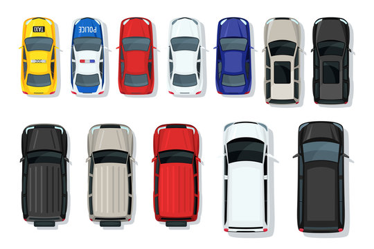 Set of vector cars top view. Flat style city transport. Vehicle icons isolated. Multicolor car illustration from top. Street traffic and transport elements.