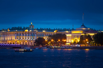 St. Petersburg. View of the Hermitage. Neva River. Petersburg in the evening.