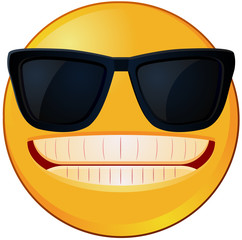 Cool emoji wearing a sunglasses vector