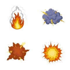 Flame, sparks, hydrogen fragments, atomic or gas explosion, thunderstorm, solar explosion. Explosions set collection icons in cartoon style vector symbol stock illustration web.
