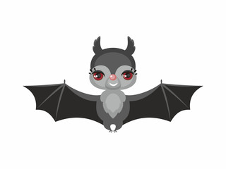 Little cute bat in a cartoon style. Children's illustration on white background.