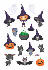 Witch, bat, owl, pumpkin, black cat, goat and other traditional elements of Halloween. Vector set of characters and icons in cartoon style.