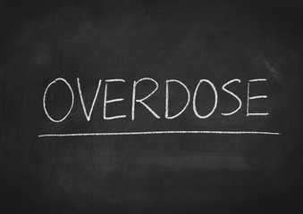 overdose concept word on a blackboard background