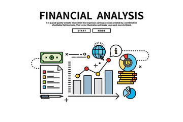 Flat line vector editable graphic illustration, business finance concept, financial analysis