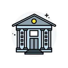 Bank building concept Isolated Line Vector Illustration editable Icon