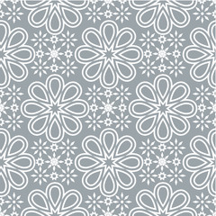 Geometric seamless pattern. Modern floral ornament. Gray and white color. Vector illustration. For the interior design, wallpaper, decoration print, fill pages