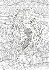 Patterned illustration of a mermaid.