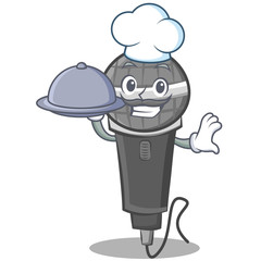 Chef with food microphone cartoon character design