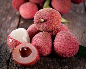 lychee fruit on wooden background