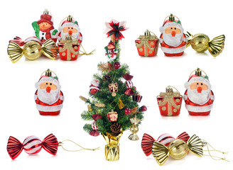 christmas tree and christmas decoration isolated on white background.