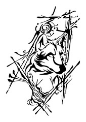 silhouette wolf head design with ink splash  for tattoo vector