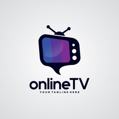 Online TV Logo Template Design Vector, Emblem, Design Concept, Creative Symbol, Icon