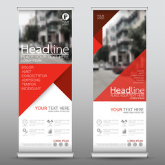 Roll up business banner design vertical template vector, cover presentation abstract geometric background, modern publication display and flag-banner, layout in rectangle size.