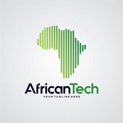 African Tech Logo Template Design Vector, Emblem, Design Concept, Creative Symbol, Icon