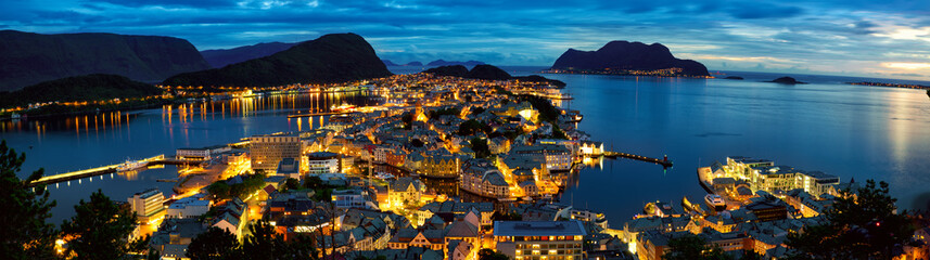 Panorama of Alesund at dusk, Norway