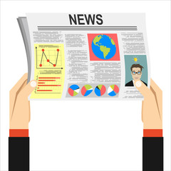 newspaper in hand news flat vector icon illustration eps image daily