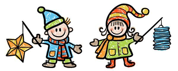 Farbige Illustration: Mädchen und Junge mit Laternen / Vektor, farbig, gezeichnet, Kreidezeichnung, freigestellt