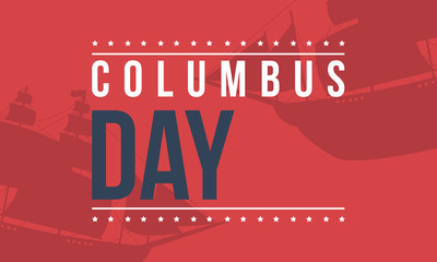 Columbus day on red background