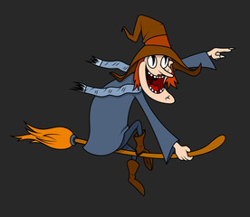 Funny Halloween Witch Character - clip-art vector illustration