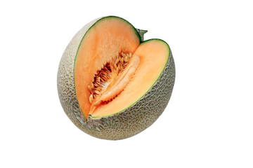 Cut of orange Melon to show the flesh,seeds and peel isolated on white background.