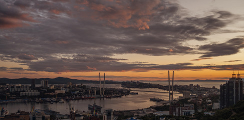Wall Mural - Vladivostok cityscape, sunset view. Natural color of sky.