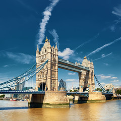 Wall Mural - Tower Bridge on a bright sunny day in London, England, UK