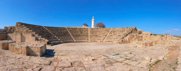 Fototapete - Ancient Greek amphitheater in archaeological site in Paphos, Cyprus