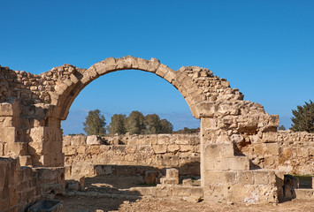 Wall Mural - Ancient Roman arches, Paphos archaeological park in Cyprus