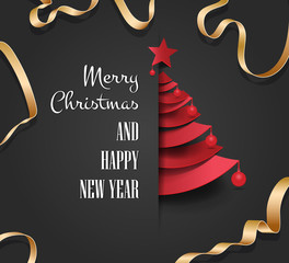 Merry christmas happy new year golden triangle tree low poly. christmas tree, design, vector illustration. Creative Christmas tree. Merry christmas greeting card.