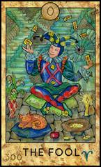 Fool. Joker. Fantasy Creatures Tarot full deck. Major arcana
