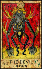 Devil. Demon of horror. Fantasy Creatures Tarot full deck. Major arcana