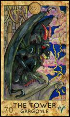 Tower. Gargoyle. Fantasy Creatures Tarot full deck. Major arcana