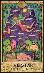 Star. Tooth fairy. Fantasy Creatures Tarot full deck. Major arcana