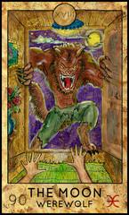 Moon. Werewolf. Fantasy Creatures Tarot full deck. Major arcana