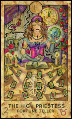 High Priestess. Fortune Teller. Fantasy Creatures Tarot full deck. Major arcana