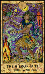 Hierophant. Voodoo warlock. Fantasy Creatures Tarot full deck. Major arcana