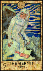 Hermit. Yeti or Bigfoot. Fantasy Creatures Tarot full deck. Major arcana